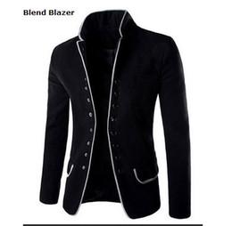 Wholesale Los juegos del chino de la túnica del nuevo diseño tradicional al por mayor para los hombres capa mezclada algodón Blues de las chaquetas de la chaqueta de los hombres del collar del soporte