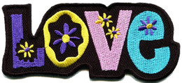Custom Love peace hippie boho retro flower power hippy embroidered iron-on patch new design badge free shipping