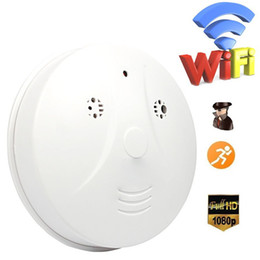 Wholesale Wi Fi Smoke Detector Camera Wireless IP Camera Support P Motion Activated Video Record Mini Security Cam by Phone or PC Remote Control