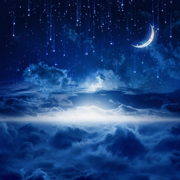 Promotion backdrops de vinyle de photographie de bébé Dark Blue Night Bright Crescent Moon Photo Backdrops Vinyle Glitter Stars Fantasy Photographie Fond Enfants Nouveau-né Baby Booth Props