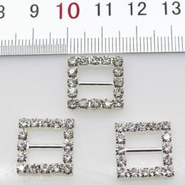 100pcs 10mm Inner Bar Square Wedding Invitation Clear Rhinestone Buckle Diamante Ribbon Slider Wedding Decor