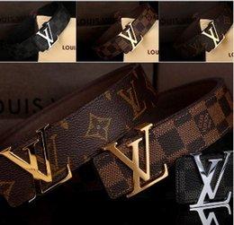 Wholesale 2016 original designer letter l v buckle belts men high quality mens ff belts luxury men designer leather gg belt free epacket shipping