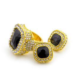Wholesale Men s k Gold Plated Iced Out Micro Pave Red Ruby Earrings Ring set Punk Rap Jewelry Size Available