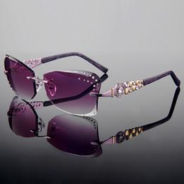 Descuento gafas de sol púrpura Venta al por mayor-2015 recorte de estilo de verano recortar las gafas de sol sin receta de la prescripción de las mujeres de la manera rimless con los Rhinestones en la lente Marco púrpura