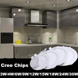 Dans la lumière conduit 6w en Ligne-LED Encastré les lumières vers le bas 3w 4w 6w 9w 12w 15w 18W 24W Downlights Lumière de panneau de plafond de LED ultra mince Éclairage AC85-265V SAA UL LLFA