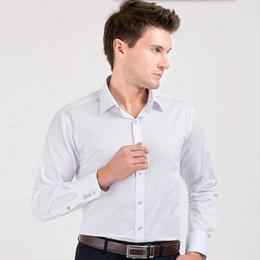Compra On-line Camisas novas do partido-Nova camisa de noivo do estilo camisa de manga comprida branca homens cor sólida slim fit groomsman jantar camisa de vestido de festa