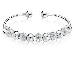 Wholesale Los brazaletes de la plata esterlina pulsan los granos pulidos encantan el diseño abierto de la bendición afortunada china del brazalete de las pulseras que envía libremente