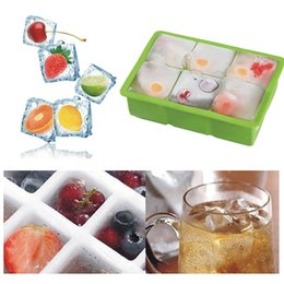 Fast-Release 6-squares Ice Cube Tray Flexible Food Grade Silicone Ice Cube Tray 9 Colors to Choose