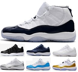 2017 bleu argenté 2017 air retro 11 hommes Basketball Shoes Midnight Navy Low GS Blue Moon University Blue Barons GS HEIRESS blanc Argent Chaussures de sport Sneaker budget bleu argenté