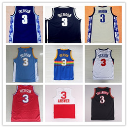 Wholesale New Georgetown Hoyas Allen Iverson College Jerseys New Rev Material Allen Iverson Shirts Throwback Uniforms Stitched Embroidery Logos