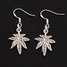 Maple Leaf Earrings 925 Silver Fish Ear Hook 30pairs lot Antique Silver Chandelier E360 37.6x15.6mm