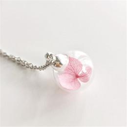 12pcs lot Dried Flower Necklace Fairy Glass Ball Terrarium Botanical Woodland Real Flower Wedding Pink