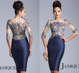 Janique Mother of the Bride Dresses Jewel Navy Blue Half Sleeves Sheer Crystal Beaded Knee Length Evening Mother Dress JQ1502