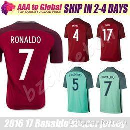 Portogallo Jersey 2016 Camisetas de Futbol Portogallo RONALDO FIGO NANI Football Shirt 16 17 Maillot de Foot Cristiano Ronaldo Soccer Jersey
