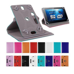 Soportar pulgadas en venta-Cajas universales para la tableta Caso giratorio de 360 grados 10 Cubierta del soporte de cuero de la PU 7 8 9 pulgadas doblan las cubiertas del tirón La hebilla incorporada de la tarjeta para el mini iPad