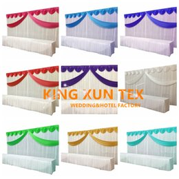 3m*6m White Color Wedding Backdrop Curtain Background With Many Color Top Swag Drape Decoration Free Shipping