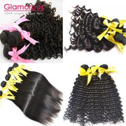 Promotion 24 profonds faisceaux de cheveux bouclés Glamorous 8A Péruvien brésilien malaisien indien bouclé droit profond vague naturel vague cheveux tissage 4 paquets livraison gratuite