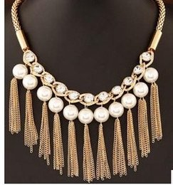 pearl gold tassels pendant pearl chain lady's necklace (88)