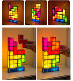 Wholesale Christmas Glowing Star - Led glow Tetris Puzzle Desk table lamp DIY colorful Building blocks Stackable night light Constructible Led cubes children gift fuuny toys