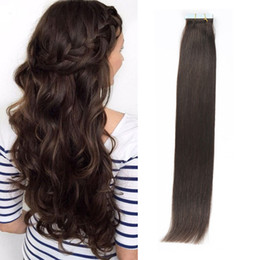 Tape in Human Hair extensions Dark Brown 16-24inch Brazilian Virgin Human Hair Extension 20pcs PU Skin Weft Silky Straight 30-70g Optional