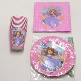 Wholesale Sofia Princess Cartoon Napkins Baby Shower Birthday Party Dishes Kids Favors Paper Plates Cups Decoration Supplies