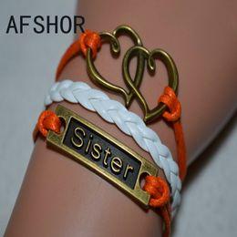 Retro Alloy Woven White Orange Leather Cotton Rope Cuff Wristband Bracelet Bangles Unique Women Men Double Heart Sister Accessories Jewelry