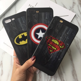 Fashion Brand Mirror Skin Superman Batman Captain America Soft TPU Phone Cover Case for iPhone 6 6S Plus 7 Plus Capa Coque Funda