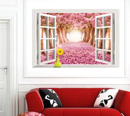 Sakura 3D false windows landscape wall Wall Street fashion creative 3D stereo wallpaper Sunshine beach Removable stickers 60*90cm 150g