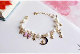 Promotion fille chat cru Les bracelets créent de nouveaux bracelets de rêves d'été vintage Star Moon Cats Star Pearl Pearl Chain Bracelet Girls pink
