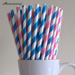 Wholesale Pink Blue Striped Paper Straws Gender Reveal Baby Shower Party Supplies Decor Bar Cart Accessories Cake Pop Sticks Graduation