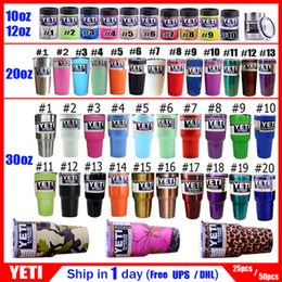 Wholesale Free DHL FedEx oz oz oz oz Stainless Steel Skull YETI Cups Tumbler Rambler Coolers Travel Coffee Beer Double Mugs