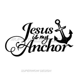 Wholesale Cool Car stickers JESUS IS MY ANCHOR stickers Locomotive body decals Reflective film carved car stickers
