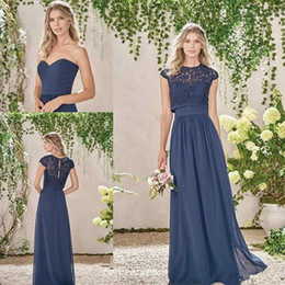 Elegant Cheap Dark Navy Long Bridesmaid Dresses Two Pieces Lace Maid of Honor Dress Wedding Guest Gown Custom Made Plus Size