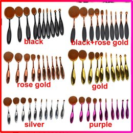 Wholesale 10pcs set sets Tooth Brush Shape Oval Makeup Brush Set Professional Foundation Powder make up brushes with retail box