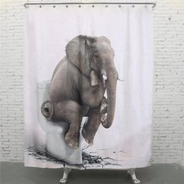 Canada Vente en gros- NOUVEAU 150x180cm Elephant Print Printing Imperméable Terylene Bath Shower Curtain Block Hooks Home Bathroom Product with 12 Hooks shower curtain printing on sale Offre