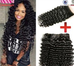 Tissage Wet and Wavy Virgin Brazilian Hair With Closure Unprocessed Human Hair 3 Bundles with Lace Closures Cheap deep curly Brazilian Weave
