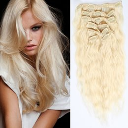 8A Grade Clip in on Human Hair Extensions 10pcs Set 22clips #613 Blonde Water Wave Colored Curly Crochet Human Hair Dyeable Free Shipping