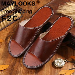 2017 New Fashion Summer Home Slippers Men Genuine Cow Leather Floor Slipper Shoes Flat Slippers Free Shipping