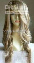 Wholesale cheap Stylish long blonde wavy human made hair wig wigs