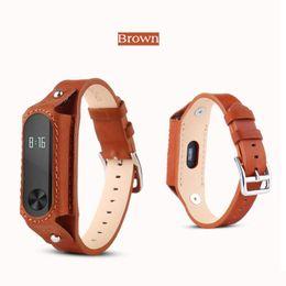 Acheter en ligne Mi bracelet de bande-Haute qualité bracelet en cuir durable pour Xiaomi Mi bande 2 sangles sans vis Bracelet en acier inoxydable Remplacer les accessoires pour Mi bande 2