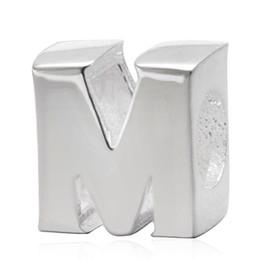 925 Sterling Silver Letter Bead Alphabet M Bead Compatible With Pandora Bracelet