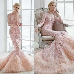 Luxury Pink Muslim Wedding Dresses Feather Long Sleeves Lace Applique Trumpet Bridal Gowns Sweep Train 2018 Wedding Dress Custom Made