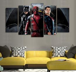 5 Pcs Set Framed HD Printed Batman Superman Deadpool Picture Wall Art Canvas Room Decor Poster Canvas Oil Painting