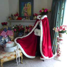 Elegant Red Satin Wedding Cloak Hooded With Fur Trim Hand Warmer Winter Bridal Jacket Satin Boleros Fast Delivery
