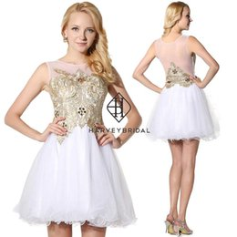 HarveyBridal White and Gold Lace Short Homecoming Dresses 2017 Backless Mini Length A-line White Graduation Party Gowns Junior Prom Dresses