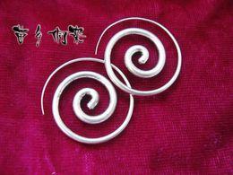 Guizhou handmade jewelry personality Miao jewelry handmade Miao earrings small circle