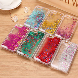 Wholesale Quicksand Dynamic Liquid Hard PC Phone Case For iphone 7 Sand Glitter Star Bling Diamond Stone Cover Skin