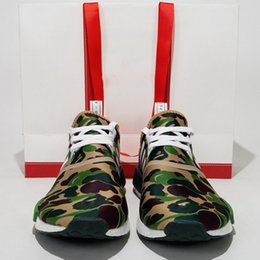 Wholesale Top Version BAPE7236 NMD R1 Real Boost Men Shoes Bathing x NMD XR1 Green CAMO Women Running Shoes Sneakers Factory Quality