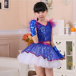 Sequined Kids Girls Ballet Jazz Dance dress Girls Professional Performance show Party Stage Dress Wear Kids dancewear costumes with Gloves