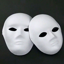 Paper Pulp Plain White Full Face Masks For Men Women Unpainted Blank DIY Fine Art Painting Masquerade Masks Net weight 40g 50pcs lot